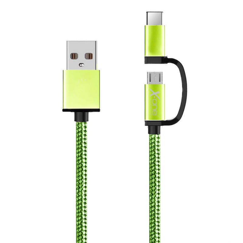 X-One CDC1000GR Cable USB a Micro + Tipo-C Verde