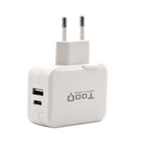 Tooq Cargador de pared doble USB-c+ USB A